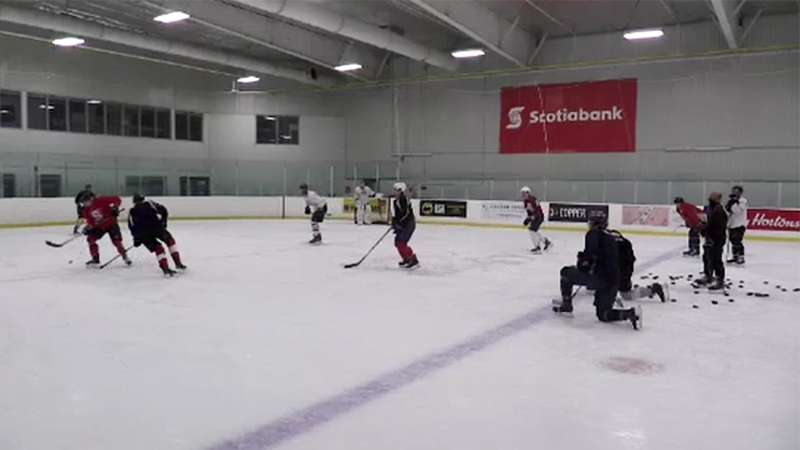 OHL players begin practice at Western Fair District in London, Ont. on Wednesday, Oct. 28, 2020. (Brent Lale / CTV News)