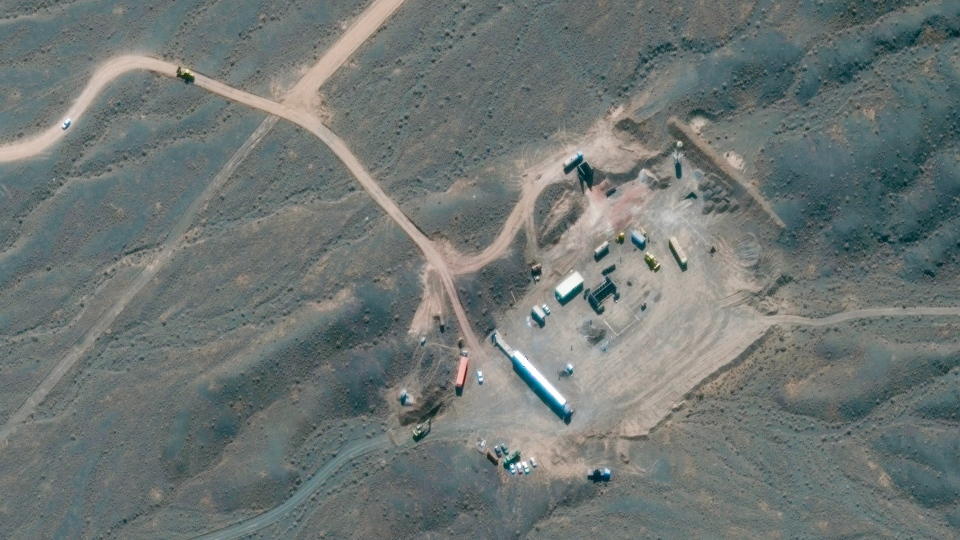 In this Wednesday, Oct. 21, 2020, satellite photo provided by Maxar Technologies, shows construction at Iran's Natanz uranium-enrichment facility that experts believe may be a new, underground centrifuge assembly plant. Satellite photos show Iran has begun construction at its Natanz nuclear facility. That's after the head of the U.N.'s nuclear agency acknowledged Tehran is building an underground advanced centrifuge assembly plant after its last one exploded in a reported sabotage attack last summer. (Satellite image ©2020 Maxar Technologies via AP)