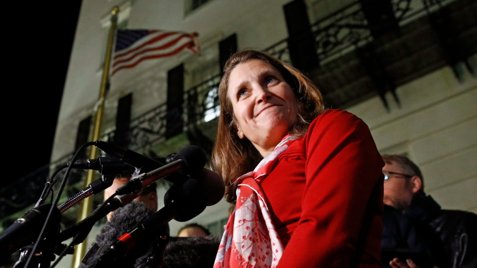 Canadian Deputy Prime Minister Chrystia Freeland speaks with members of the media after a meeting at the U.S. Trade Representative's office for talks on the U.S.-Mexico-Canada agreement on trade, Wednesday, Nov. 27, 2019, in Washington. (AP Photo/Patrick Semansky)