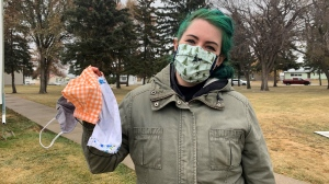 Alana Demkiw says masks eliminate the need to be fake. (Carla Shynkaruk/CTV Saskatoon)