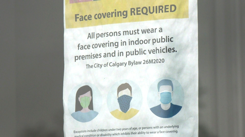 Calgary face masks sign