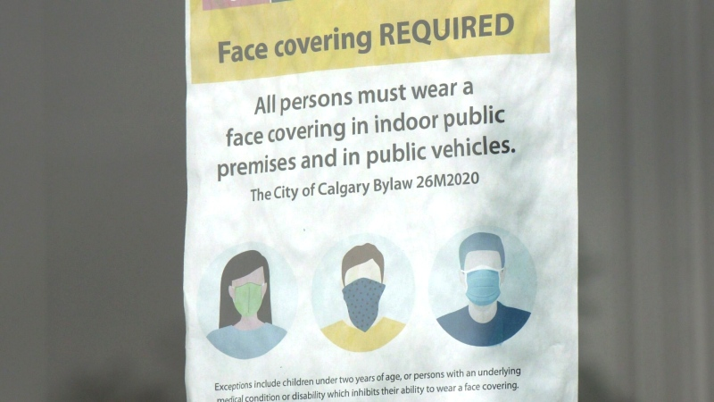 Calgary, face masks, sign, bylaw