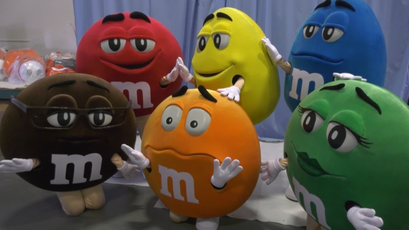 M&M mascots made by Edmonton-based company International Mascot Corporation. Oct. 28, 2020. (CTV News Edmonton)