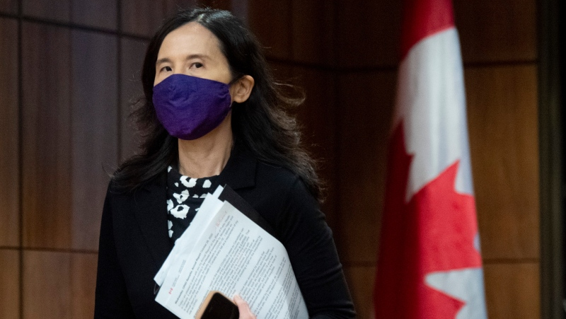 Chief Public Health Officer Theresa Tam arrives for a news conference in Ottawa, Wednesday October 28, 2020. THE CANADIAN PRESS/Adrian Wyld