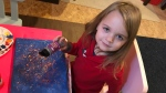 Aurora making art to sell for charity. Oct. 28, 2020. (David Ewasuk/CTV News Edmonton)