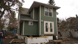 A farmhouse in Westmount was lifted so its foundation could be replaced in late September, and set back down Oct. 28, 2020. The owners expect to move in February 2021.