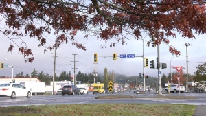 The City of Colwood is hoping to build an overpass that connects to the Galloping Goose Trail at this intersection, as the Island Highway cuts through the popular regional trail: (CTV News)