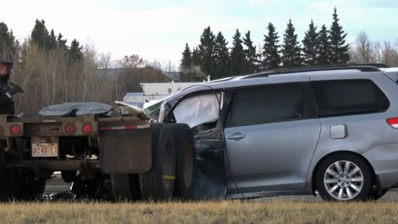 Wheel unit from semi kills Edmonton teacher on way to work