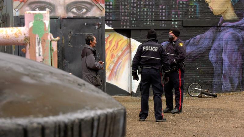 Saskatoon police pictured downtown Oct. 28, 2020. (Dale Cooper/CTV Saskatoon)