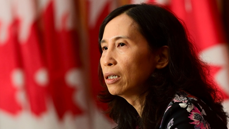 Chief Public Health Officer Dr. Theresa Tam speaks during a press conference during the COVID pandemic in Ottawa on Tuesday, Oct. 13, 2020. THE CANADIAN PRESS/Sean Kilpatrick