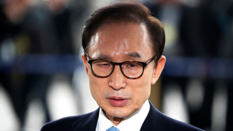 In this March 14, 2018, file photo, former South Korean President Lee Myung-bak arrives for questioning over bribery allegations at the Seoul Central District Prosecutors' Office in Seoul, South Korea. (Kim Hong-Ji/Pool Photo via AP, File)