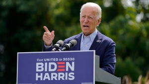 Democratic presidential candidate and former U.S. Vice President Joe Biden speaks about climate change and wildfires affecting western states, Monday, Sept. 14, 2020, in Wilmington, Del. (AP Photo/Patrick Semansky)
