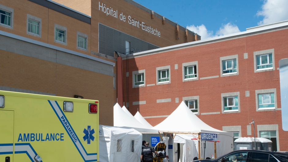 The Saint-Eustache hospital is seen Friday, July 31, 2020 in Saint-Eustache, Que. The hospital is dealing with an outbreak of COVID-19 that has left 14 patients and 11 staff testing positive for the virus.THE CANADIAN PRESS/Ryan Remiorz