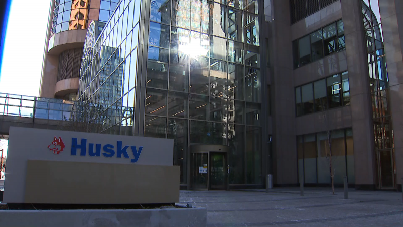 Husky Energy sign outside of Western Canadian Place in downtown Calgary