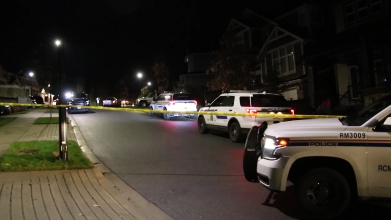 Police were seen outside a Maple Ridge home early in the morning of Oct. 29, 2020, after getting reports of a fatal stabbing.