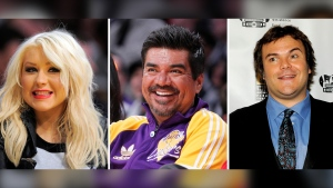 This photo combination shows from left: Christina Aguilera in L.A., March 29, 2012, George Lopez in L.A., on Dec. 25, 2012, and Jack Black in Las Vegas, on April 25, 2012. (AP)