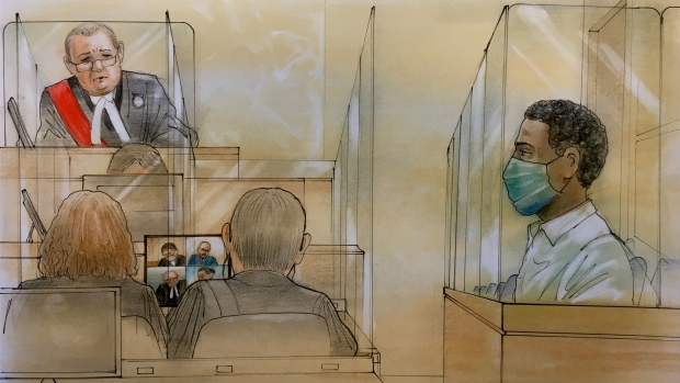 T'Quan Robertson is seen in court on Oct. 29, 2020. (CTV News Toronto/John Mantha)