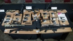 Weapons seized during an investigation are seen. (Toronto Police Service)