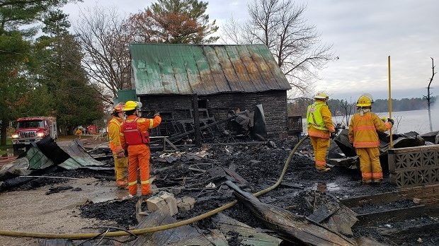 The Stanton Brothers store was destroyed by fire in Port Stanton, Ontario, on Wed., Oct. 28, 2020. (Supplied)