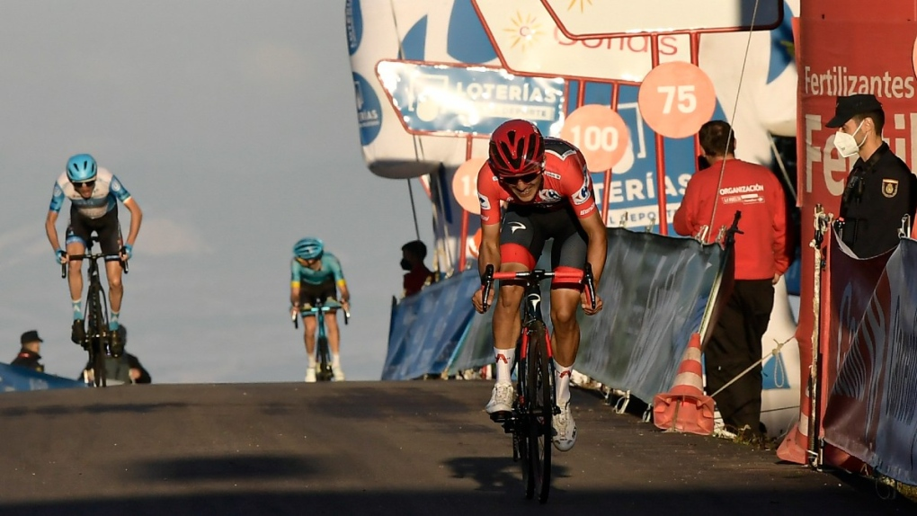 Ineos' Richard Carapaz in red during stage 8
