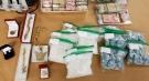Drugs and jewelry seized by police in London, Ont. on Wednesday, Oct. 28, 2020 are seen in this image released by the London Police Service.