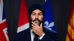 NDP leader Jagmeet Singh holds a press conference on Parliament Hill in Ottawa on Thursday, Oct. 29, 2020. THE CANADIAN PRESS/Sean Kilpatrick