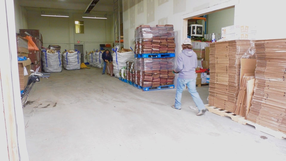 The warehouse at Wood Depot is usually full to the ceiling but during the pandemic when a shipment comes in, it goes out to customers right away