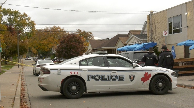 Windsor police holding the scene at Pierre Avenue and Ottawa Street in Windsor, Ont after reports of a stabbing on Thursday, Oct. 29, 2020. (Sijia Liu/CTV Windsor)