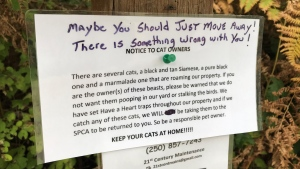 Cat owners in a North Saanich neighbourhood were on high alert Thursday after discovering a note left on their community mailbox on Ardmore Drive.
