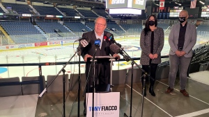 Tony Fiacco adressed the media at a campaign event at Evraz Place on Oct. 29, 2020. (Gareth Dillistone/CTV News)