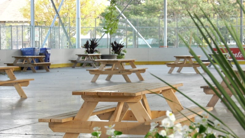 The outdoor ice rink at Lanspeary Park has been converted into an outdoor food hall by WindsorEats meant to help many festival vendors affected by pandemic-related event closures recover earnings. Pictured on Thursday, October 29, 2020. (Ricardo Veneza/CTV Windsor).