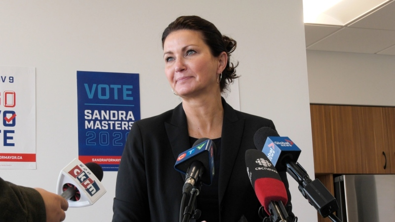 Sandra Masters speaks at a campaign event on Oct. 22. (Marc Smith/CTV News)