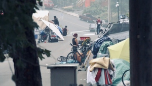 Homeless campers are pictured in Nanaimo: (CTV News)