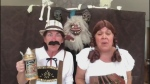Louise Lemieux and Patty Dunlop from Blind River get spooked at an Oktoberfest party and sing 'Mama Told Me Not to Come.'