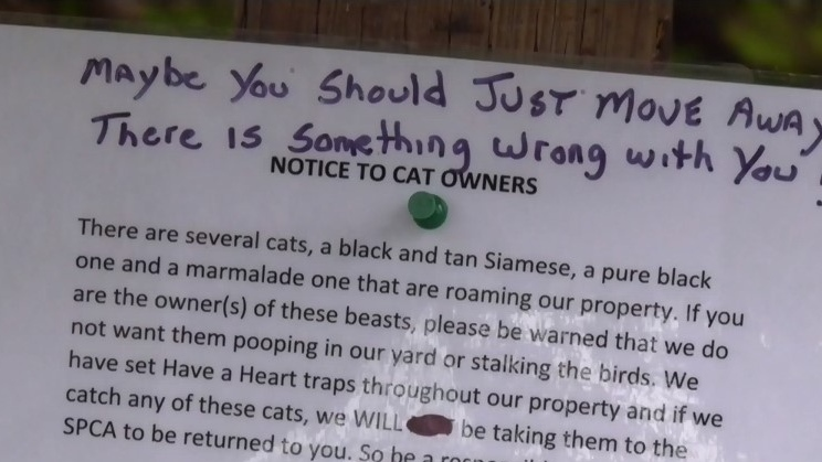 Sign threatens to trap cats in local neighbourhood