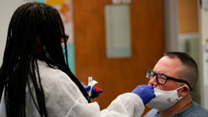 Instructor Frank Esposito submits to a COVID-19 nasal swab test at West Brooklyn Community High School, Thursday, Oct. 29, 2020, in New York. (AP Photo/Kathy Willens)
