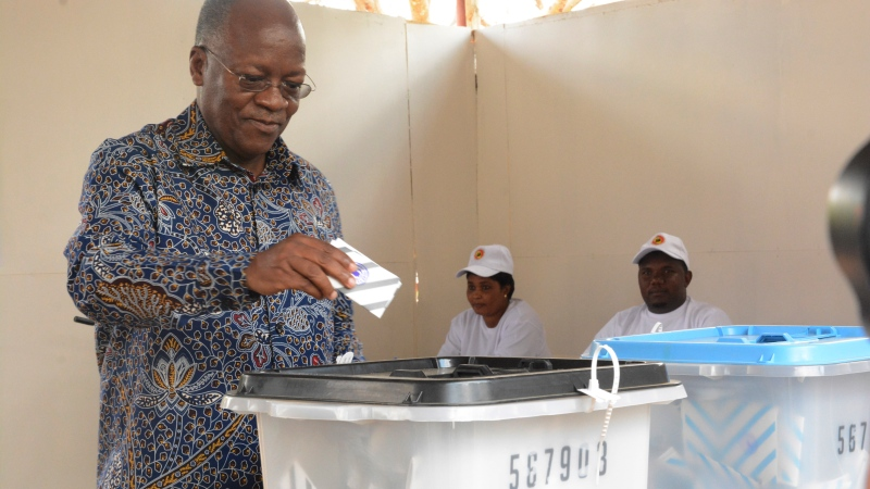 The ruling party CCM presidential candidate Dr. John Magufuli casts his vote at Chamwino in Dodoma Wednesday. Oct. 28, 2020. (AP Photo)