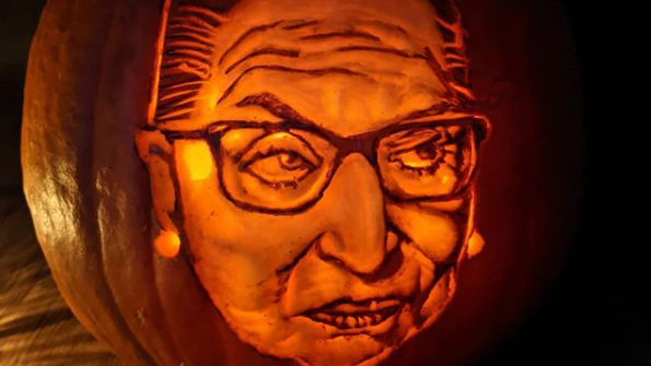 Matt Bustin's latest pumpkin creation is a tribute to the late U.S. Supreme Court Justice Ruth Bader Ginsburg. (Photo via: Instagram/ Matt Bustin)