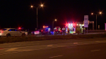 A short police car chase ended with a woman in her 20s being transported to the hospital in an agitated state. Charges may be pending for impaired driving. (Cosmo Santamaria/CTV News)
