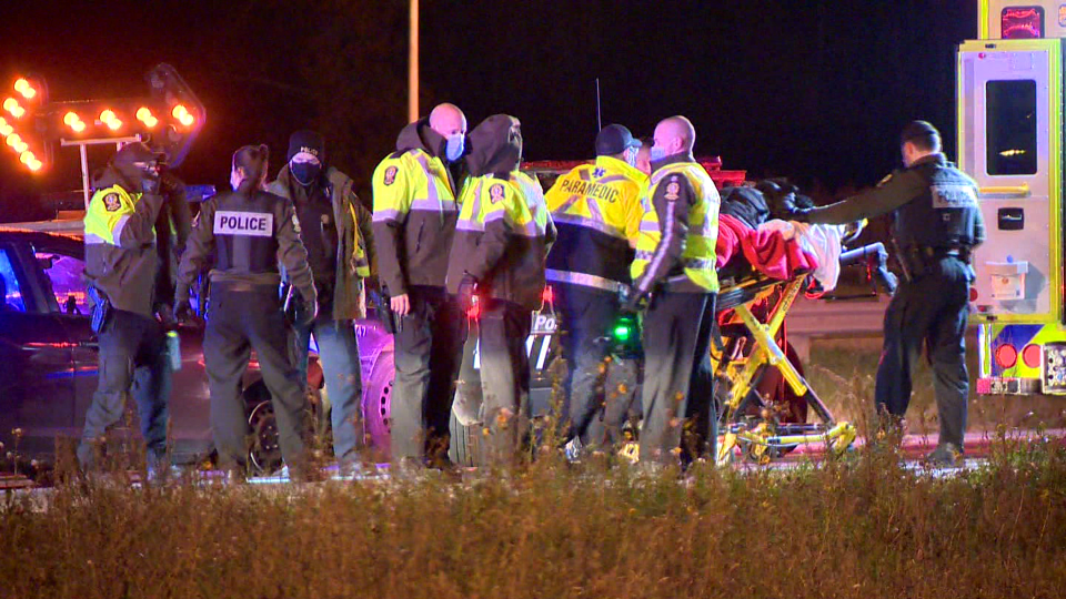 The Surete du Quebec arrested a woman in her 20s after a brief police car chase in Laval in which officers suspect alcohol may have been involved. (Cosmo Santamaria/CTV News)