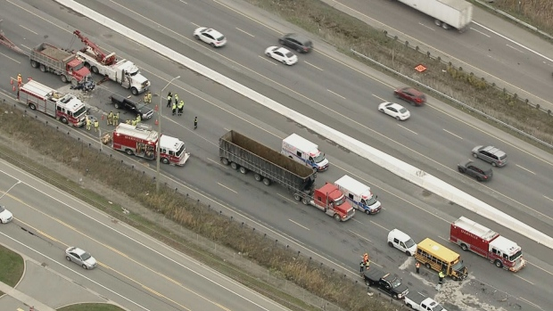 OPP are investigating after a serious multi-vehicle collision involving a school bus on the QEW in Oakville.