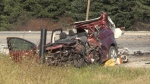 A vehicle involved in a crash north of St. Thomas, Ont. on Friday, Oct. 30, 2020. (Jim Knight / CTV News)