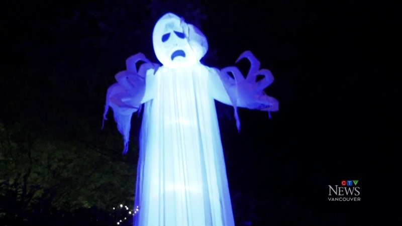 A Metro Vancouver street is lined up with inflatable Halloween decorations.