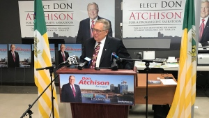 Mayoral Candidate Don Atchison speaks Oct. 30, 2020. (Chad Hills/CTV Saskatoon)