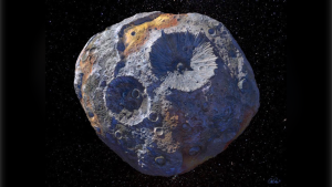 The massive asteroid 16 Psyche is the subject of a new study by SwRI scientist Tracy Becker, who observed the object at ultraviolet wavelengths. (Courtesy of Maxar/ASU/P. Rubin/NASA/JPL-Caltech)
