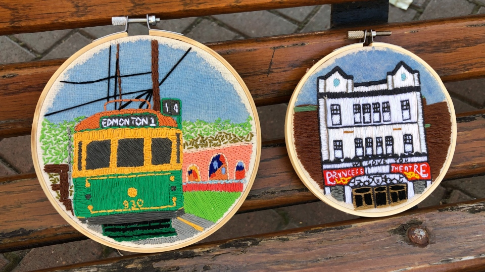 Murriel Mapa's embroidery of the Walterdale Bridge and the High Level Bridge Streetcar. Oct. 29, 2020. (John Hanson/CTV News Edmonton)