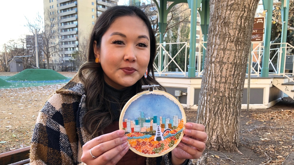 Murriel Mapa and her Walterdale Bridge embroidery. Oct. 29, 2020. (John Hanson/CTV News Edmonton)
