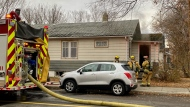 Fire crews responded to a house fire in the 1800 block of Toronto St. on Oct. 29, 2020. (Gareth Dillistone/CTV News)