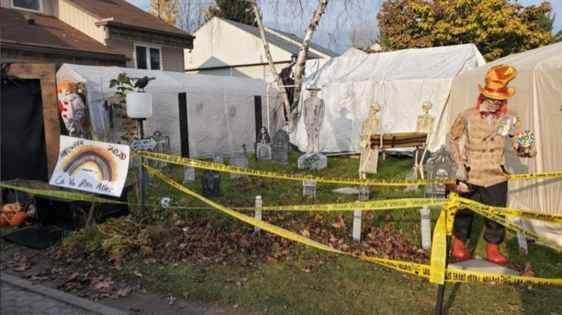 Scott Trainor made a haunted house for Halloween despite the COVID-19 pandemic -- and a security company offered to help him keep it safe.