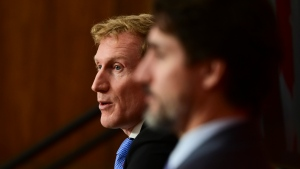 Minister of Indigenous Services Marc Miller, left, and Prime Minister Justin Trudeau provide an update on the COVID-19 pandemic during a press conference in Ottawa on Friday, Oct. 30, 2020. (THE CANADIAN PRESS/Sean Kilpatrick)